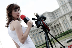 Reporter. A young and nice reporter girl Royalty Free Stock Photo