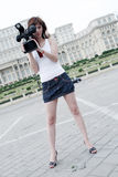 Reporter. A young and nice reporter girl Stock Images