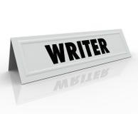 Reporter Blogger Jour dell'autore dell'altoparlante di ospite di Tent Card Name dello scrittore Immagini Stock Libere da Diritti