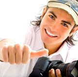 Reporter with camera Stock Photo