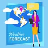 Reporter de télévision Weather Forecasting de femme illustration stock