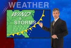 Reporter dell'anchorman del meteorologo del tempo di notizie della TV Fotografie Stock Libere da Diritti