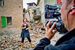 Reporter della TV fotografia stock
