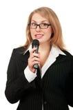 Reporter der jungen Frau stockbild