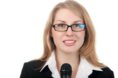 Reporter der jungen Frau stockfotografie
