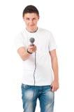 Reporter des jungen Mannes stockbilder