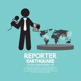 Reporter With Earthquake News. Royalty Free Stock Photos