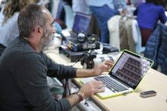 Reporter editing work Stock Photo