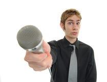 reporter för intervjujournalistnyheterna Arkivfoton