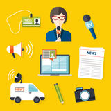 Reporter för journalistikpressnyheterna Uppsättning av vektorjournalistiksymboler I Royaltyfri Fotografi