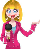 Reporter girl. Vector color cartoon reporter girl Royalty Free Stock Images