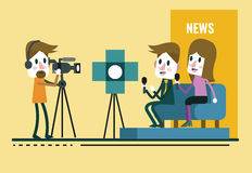 Reporter Interview, with journalist and interviewer in studio. Stock Photography