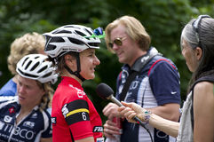 Reporter Interviews Guarnier in Stillwater Royalty Free Stock Photo