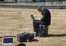 Reporter with Laptop Stock Photos