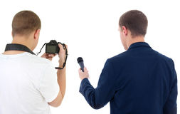 Reporter with microphone and photographer with camera. Isolated on white Royalty Free Stock Photo