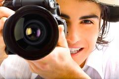 Reporter mit Kamera Stockbild