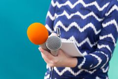 Reporter. News conference. Journalism. Stock Photo