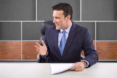 Reporter in News Room Stock Image