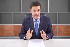 Reporter in News Room Royalty Free Stock Image