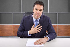 Reporter in News Room Royalty Free Stock Photos