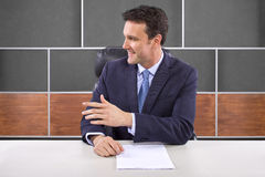 Reporter in News Room Royalty Free Stock Images
