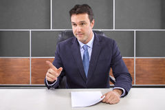 Reporter in News Room Stock Photo