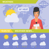 Reporter and news weather Royalty Free Stock Photography