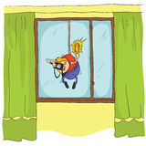 Reporter - paparazzi with camera shoots, hanging on the rope outside the window. The invasion of privacy. Vector. Cartoon illustration Royalty Free Stock Image