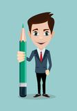 Reporter with pencil. Thinking creative work Stock Image