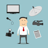 Reporter profession and broadcasting devices Royalty Free Stock Images