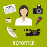 Reporter profession flat icons and symbols Stock Images