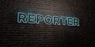 REPORTER -Realistic Neon Sign on Brick Wall background - 3D rendered royalty free stock image. Can be used for online banner ads and direct mailers stock illustration