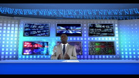 Reporter reporting news worldwide. Reporter sitting at a desk in a studio while reporting the news worldwide stock video footage
