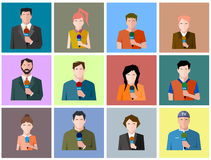 Reporter's icons, flat style Royalty Free Stock Photo