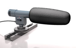 Reporter`s microphone is on the stand 3d illustration. Stock Image