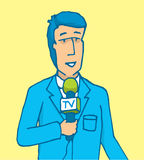 Reporter speaking on microphone reporting news Stock Image