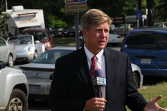 Reporter for TV News Channel 8 royalty free stock images