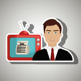 Reporter tv news. Illustration eps 10 Royalty Free Stock Photos