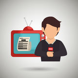 Reporter tv news microphone. Illustration eps 10 Royalty Free Stock Photo