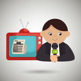 Reporter tv news microphone. Illustration eps 10 Stock Photo