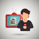 Reporter tv news microphone Royalty Free Stock Image