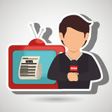 Reporter tv news microphone. Illustration eps 10 Royalty Free Stock Image