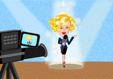 Reporter woman and camera Royalty Free Stock Photos