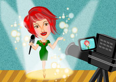 Reporter woman and camera Stock Photography