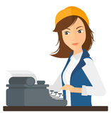 Reporter working at typewriter Stock Photography