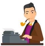 Reporter working at typewriter Royalty Free Stock Photos