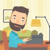 Reporter working at typewriter. Royalty Free Stock Image