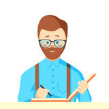 Reporter with writing-pad. Royalty Free Stock Images