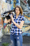Reportero de la muchacha Fotos de archivo