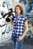 Reportero de la muchacha Imágenes de archivo libres de regalías